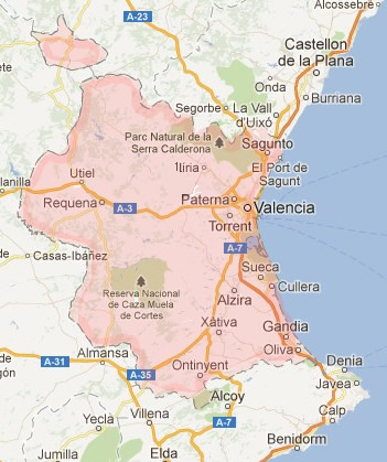 map`of Valencia Province